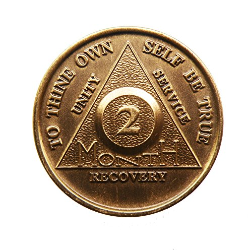 2 Month Bronze AA (Alcoholics Anonymous) - Sober / Sobriety / Birthday / Anniversary / Recovery / Medallion / Coin / Chip by Generic - 1