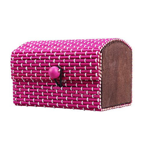 Oksale® Ring Necklace Collection Earrings Bamboo Wooden Box Jewelry Organizer Storage Boxes (Hot Pink) (Gold Storage Box With Lid compare prices)