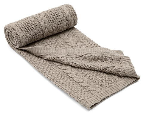 Mamas & Papas Millie & Boris Cable Knit Blanket (Taupe) - Small - 1