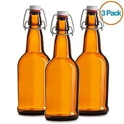 Chef\'s Star CASE OF 3 - 16 oz. EASY CAP Beer Bottles - AMBER