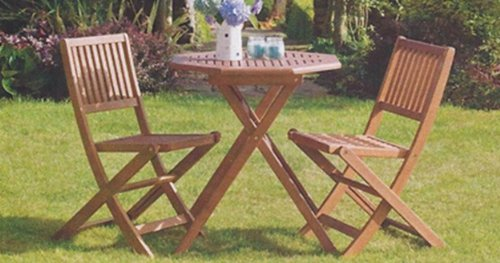 FSC EUCALYPTUS WOOD BISTRO TABLE WITH 2 FOLDING CHAIRS. GARDEN PATIO FURNITURE