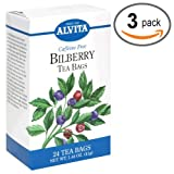 Alvita Tea Bags, Bilberry, Caffeine Free, 24 tea bags (Pack of 3)