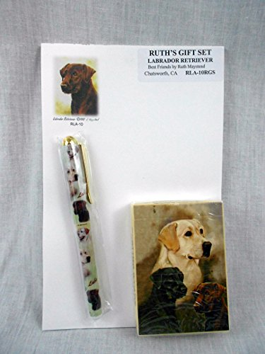 Labrador Retriever Dog Lover Gift Set by Ruth Maystead Black Lab, Chocolate and Golden Note Pad, Pen and Playing Cards
