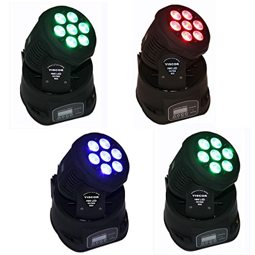 Yiscortm Stage Lighting Led Moving Head Spot Light 70W Rgbw (4-In-1) 7Led Dmx512 12Ch For Xmas Christmas Birthday Home Garden Party Effect (Pack Of 4)