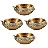 "Handmade Indian Puja Brass Oil Lamp - Diya Lamp Engraved Design (Size: Dia 2.5 "", Height 1.1 "" ) - Set Of 4"