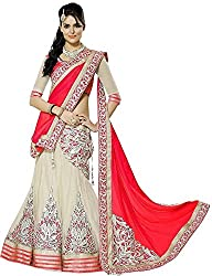 Yogi Fashion Women's Net Lehenga Choli(Maharani Red_FreeSize)