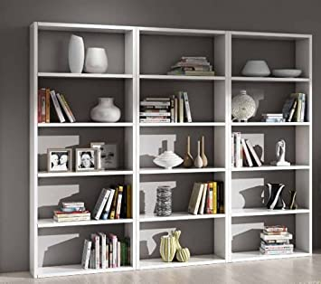 Libreria porta cd porta dvd parete soggiorno bianco frassinato 15 elementi