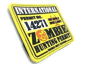 Permis de Chasse de Zombie International PVC Jaune Grand Airsoft Velcro Patch