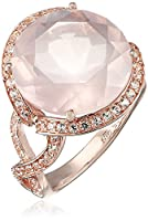 18k Rose Gold Over Sterling Silver Rose Quartz And Create White Sapphire Ring