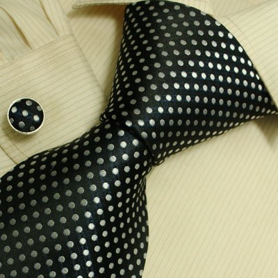 Black and White Polka dots silk mens ties cufflinks Gift set With Box A2070