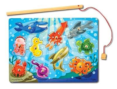 Melissa & Doug Magnetic Wooden Fishing Game with Magnetic Fishing Pole Bundle