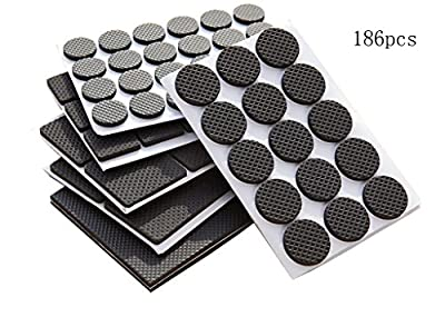 Ziomee Lightweight Reduced Non Slip Furniture Rubber Pads,Heavy Duty Adhesive Furniture leg Pads-Soft Floor Protector without scratches for Tiled,Laminate,Wood Flooring,Furniture leg protectors-186pcs