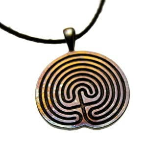 Minoan Labyrinth Iridescent Pendant Necklace on Adjustable Natural Fiber Cord
