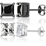 Queen Jewelers Sterling Silver Black And White Cubic Zirconia CZ Princess-Cut Stud Earrings Set of 2