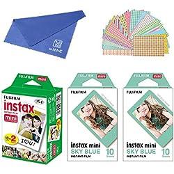 Fujifilm Instax Mini Instant Film 3-PACK BUNDLE SET , Twin Pack Film ( 20 ) + Sky Blue Frame ( 10 x 2 ) + Original Cleaning Cloth + Sticker 20 pcs. for Mini 90 8 70 7s 50s 25 300 Camera SP-1 Printer
