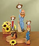 3 Pc. Smiling Scarecrows Figurine Set Table Top Accent Fall Autumn Halloween Decoration