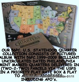 1999 to 2009 Statehood Quarter Map and 56pc. Philadelphia Mintmarked Quarter Collection (Co State Quarter compare prices)