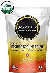 Javazen Hi-Caf Boost | Organic, Dark Roast, Ground Coffee with Yerba Mate and Acai | USDA Certified Organic, Non-GMO, Kosher, 9oz (15 Servings)