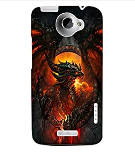 ColourCraft Flaming Dragon Design Back Case Cover for HTC ONE X