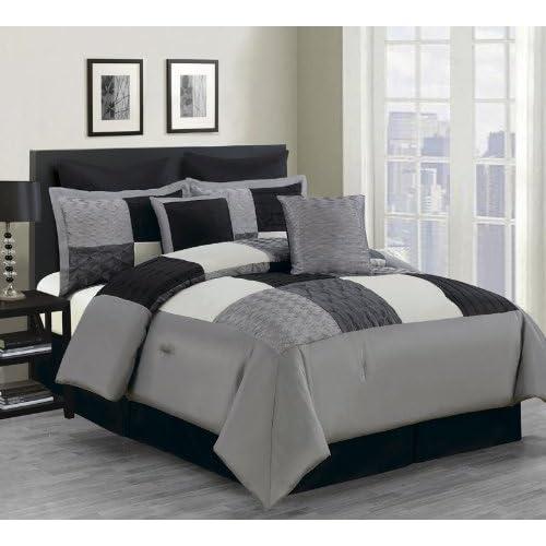 8 Piece Cal King Carson Comforter Set Black Gray