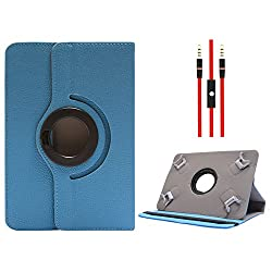 DMG Protective Flip Book Cover Stand View Case for Hcl Me Champ Tablet (Blue) + 3.5mm Flat AUX Cable with Mic