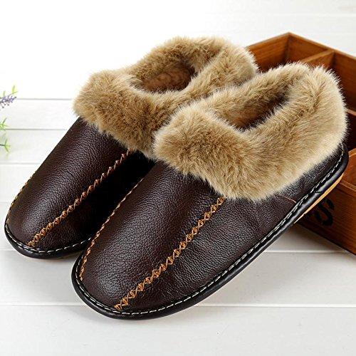 ZHLONG Pantofole di cuoio del faux casual maschile in autunno e inverno le pantofole coperta calde , 1 , 41