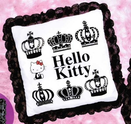 Hello Kitty Black and White Crown Pillow with Lace