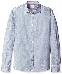 Rose Pistol Men's Long Sleeve Victorville Striped Shirt, Bottle Blue, XL