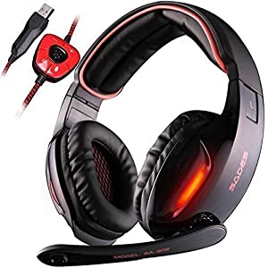 GW SADES SA902 7.1 Channel USB Surround Stereo PC Gaming Headset Headphones with Mic Revolution Volume Control Noise Canceling LED Light(Black/Red)