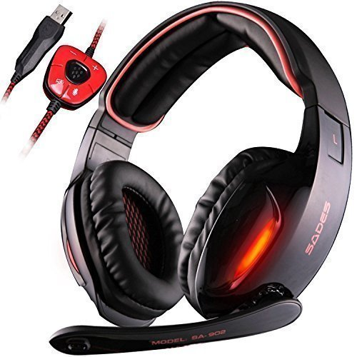 GW SADES SA902 7.1 Channel Virtual USB Surround Stereo Wired PC Gaming Headset Over-Ear headband headphones with Microphone Revolution Volume Control Noise Canceling LED light(Black&Red)