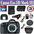 Canon EOS 5D Mark III 22.3 MP Full Frame CMOS with 1080p Full-HD Video Mode Digital SLR Camera (Body) + 16 GIG Memory Card - Holster Case - 3 Year Warranty by 33 Street Camera