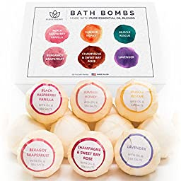 Bath Bomb Gift Set, 6 Pack - Organic Bath Bombs - Lush & Fizzy Bath Bomb Gift for Her w/ Pure Essential Oil Blends - Perfect as an Anniversary Gift, Birthday Gift for Mom, Etc. - Made in the USA