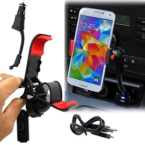 Universal USB Car Charger Clip Mount Holder w/ USB Cable ...
