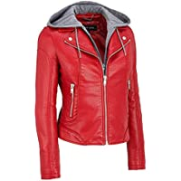 Wilsons Leather Black Rivet Hooded Center Zip Faux-Leather Cycle Jacket (Red or Black)