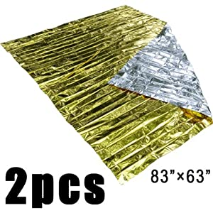 Shells 2PCS Updated Version Gold And Silver Dual Side Color 63 Inches By 83 Inches Emergency Survial Space-age Thermal Rescue Blanket