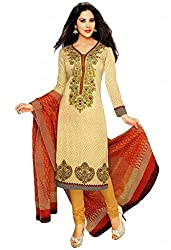 Aika Fashion Women's Crepe Fabric Printed Unstitched Regular Wear Dress Material In Cream Color (Free Size_DR016HA1272-at)