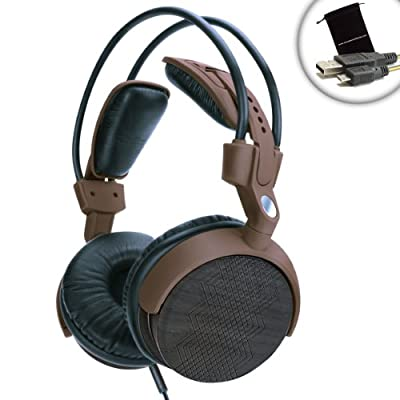 Gogroove AudioLUX WDX Stereo Over Ear Headphones - With Powerful Audio, Adjustable Design , Made with Real Wood - Works with MP3 players - SanDisk, iPod Touch, Classic, Nano, Walkmans