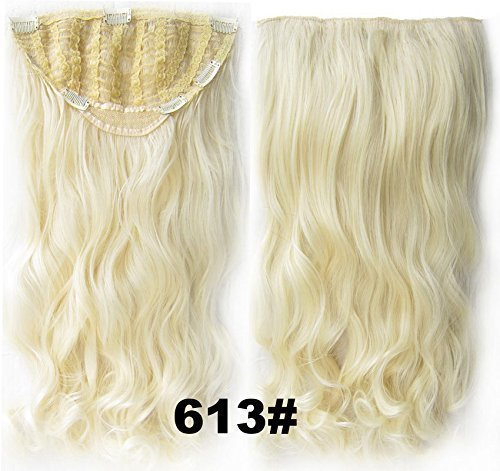 24inch long Wavy Hairpieces synthetic 7 Clip-in Hair Extensions Wigs 613#lightest blonde