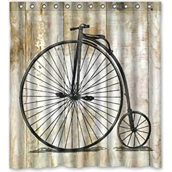 "Popular design Vintage Bicycle Pattern Shower Curtain 66""(w) x 72""(h) Generic Shower Curtain Liners"