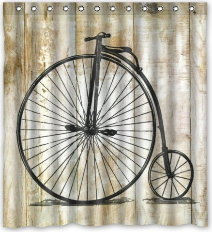 Popular design Vintage Bicycle Pattern Shower Curtain 66