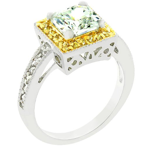 4.0 Princess Cut Clear Accented 14k Gold Plate & Silver Tone Cubic Zirconia CZ Engagement Ring (Size 5,6,7,8,9,10)