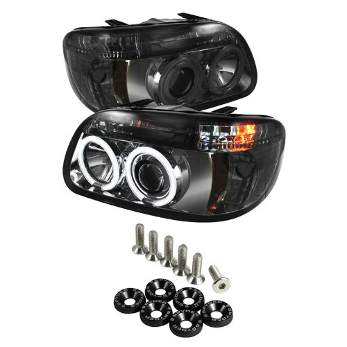 Carpart4U Ford Explorer 1Pc ( Non Sport And Sport Trac Model ) Ccfl Halo Projector Headlights - Smoke & Spyder Washer 6Pcs - Black