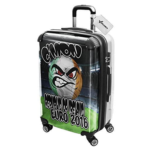 Euro 2016 C mon Republic Of Ireland, Luggage Valigia Bagaglio Ultraleggero Trasportabile Rigido con 4 Route e Disegno Intercambiabile. Dimensione: Grande, L