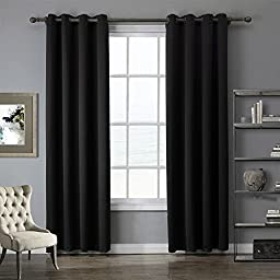 Nicetown Spring Summer Thermal Insulated Solid Grommet Blackout Curtains / Drapes for Livingroom (One Panel,52 Inch by 84 Inch,Black)