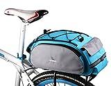 Roswheel® wasserabweisende Radtasche Satteltasche Fahrradtasche Packtaschen Koffertasche, Hinter Koffer Gepäckträgertasche, mit Reflektorstreifen, Blau,13L