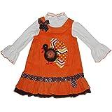 Bonnie Jean Turkey Jumper Set Thanksgiving Holiday 2 Piece Newborn Girls 0-9 Months