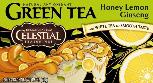 Celestial Seasonings Green Tea, Honey Lemon Ginseng, 20-Count Tea Bags (Pack of 6)