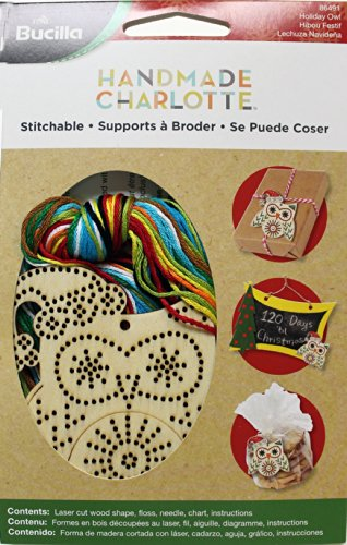 Bucilla Wood Stitchable Shapes Kit, 3 by 3-Inch, 86491 Owl