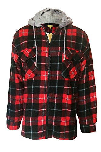 Loungeable Boutique Bruno Galli FJ417 Mens Check Jacket - Red/Black - Large (Red And Black Hooded Flannel compare prices)