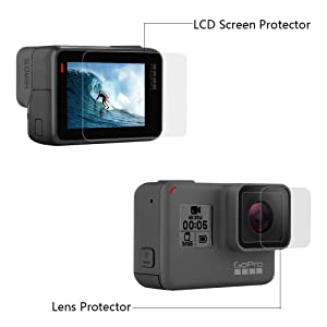 Silicone Protective Housing Case Cover with Silicone Lens Cover LCD Screen Protector Film for GoPro Hero (2018), GoPro Hero 7, Hero 6, Hero 6 Black, Hero 5, Hero 5 Black (Black) (Color: Black)